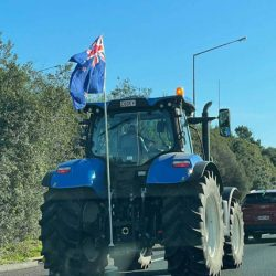 Auckland farmers take their tractors onto the southern motorway to protest government changes to Ute tax regulations - among other things.